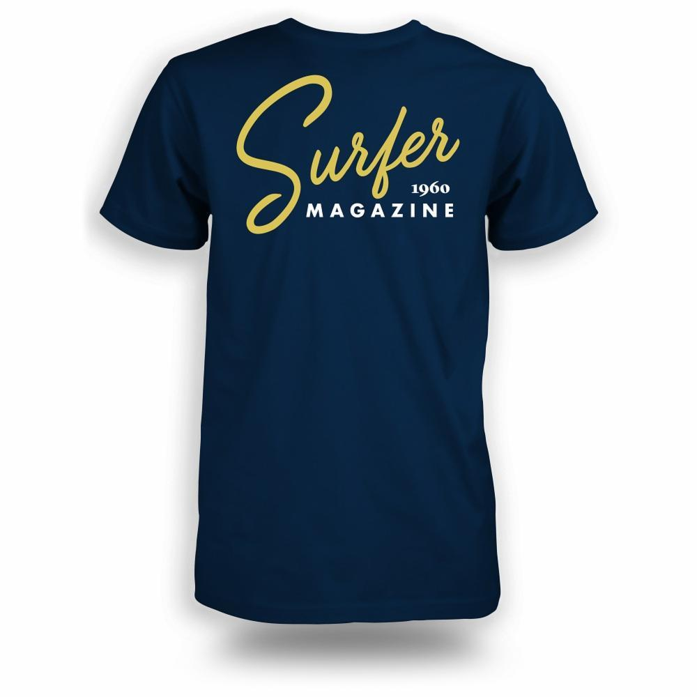Navy t-shirt with gold Surfer magazine scripted graphic on back