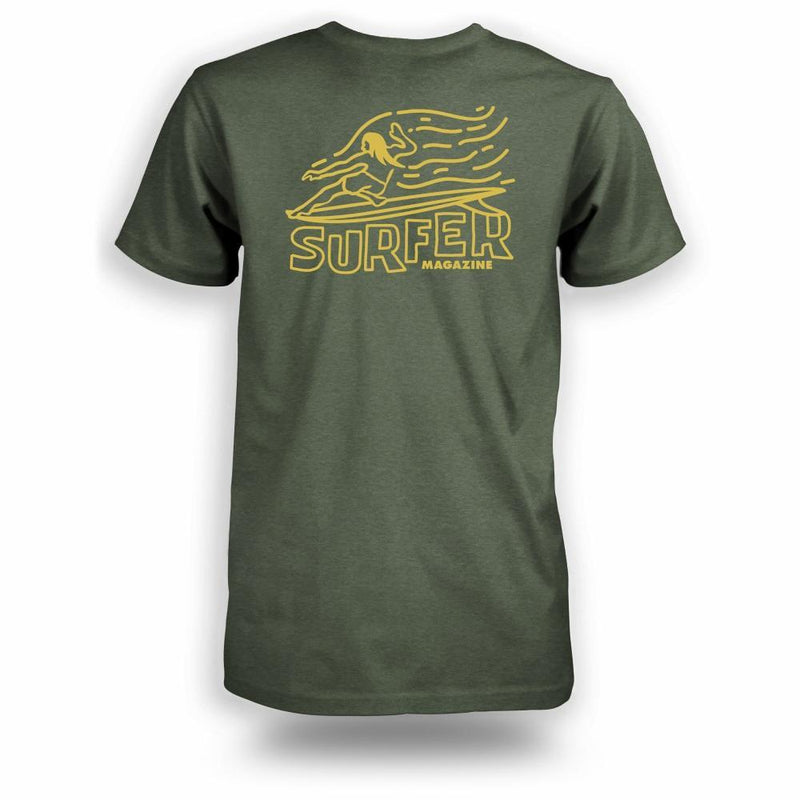 Military heather t-shirt with yellow Surfer magazine OG Glider graphic on back