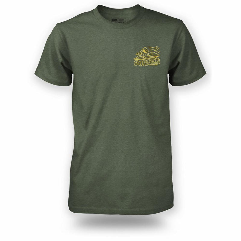 Military heather t-shirt with yellow Surfer magazine OG Glider graphic on left chest