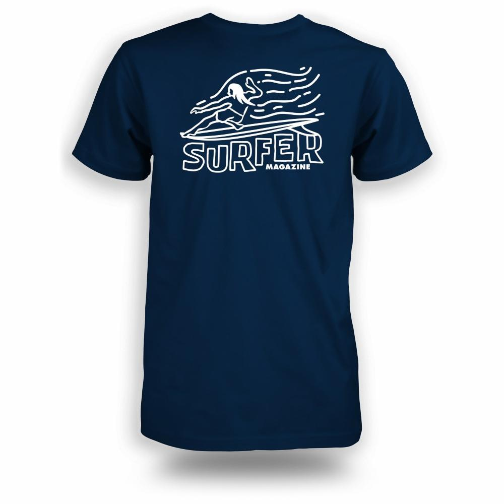 Navy t-shirt with white Surfer magazine OG Glider graphic on back