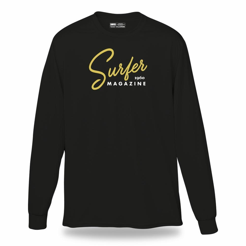 Black long sleeve t-shirt with gold surfer magazine script logo across chest