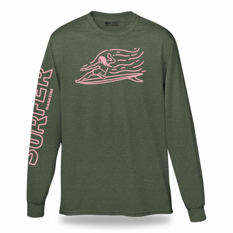 Military heather long sleeve t-shirt with pink Surfer sleeve print and pink OG Glider chest graphic