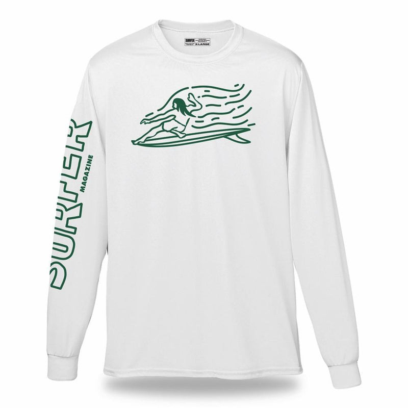 White long sleeve t-shirt with green Surfer sleeve print and green OG Glider graphic on chest