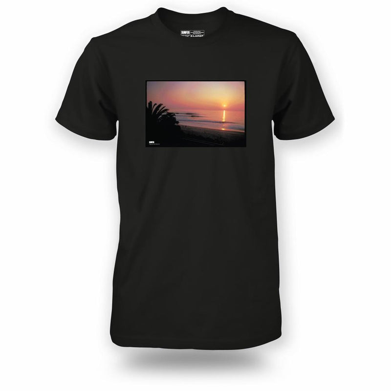 Black t-shirt with Cotton's Point sunset photo printed on chest
