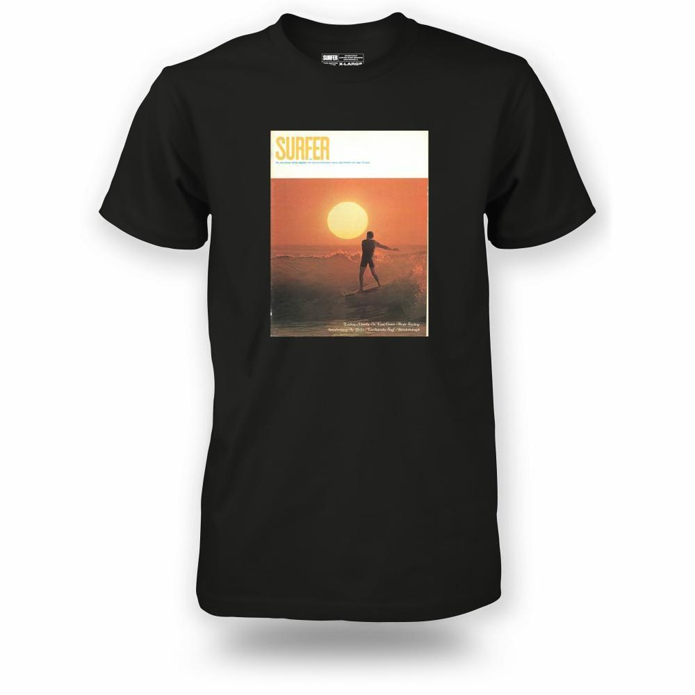 Black t-shirt with Surfer Magazine September 1967 cover image printed on chest