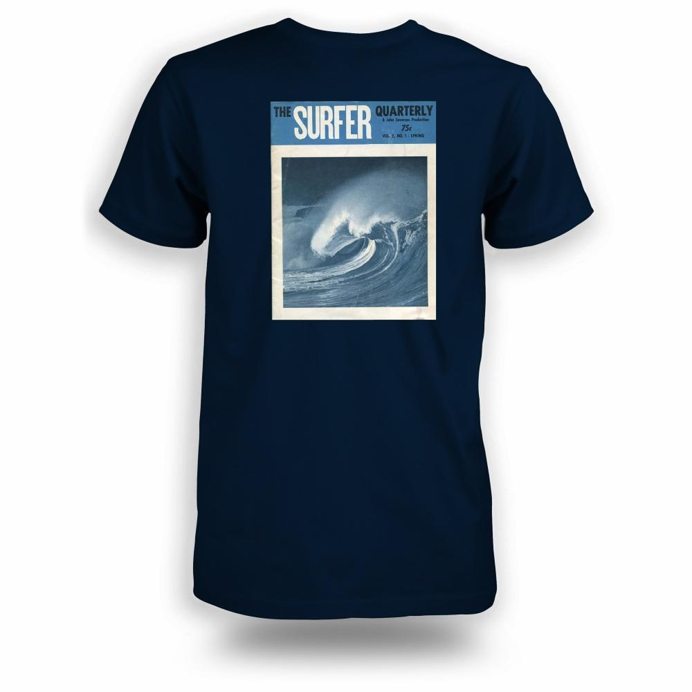 Navy t-shirt with Surfer magazine Spring 1961 cover image printer on back