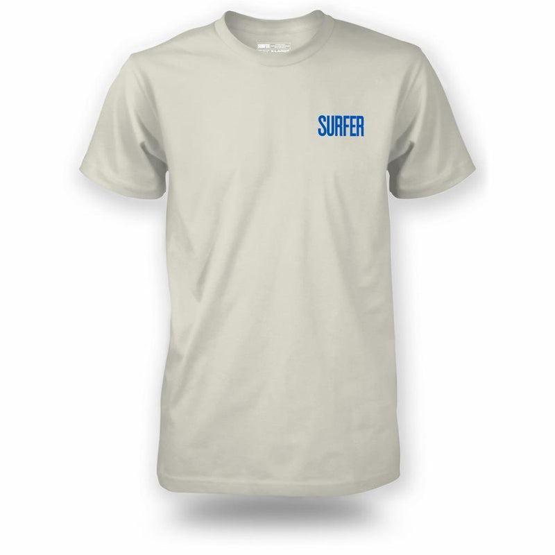 Bone t-shirt with blue Surfer Magazine logo on left chest