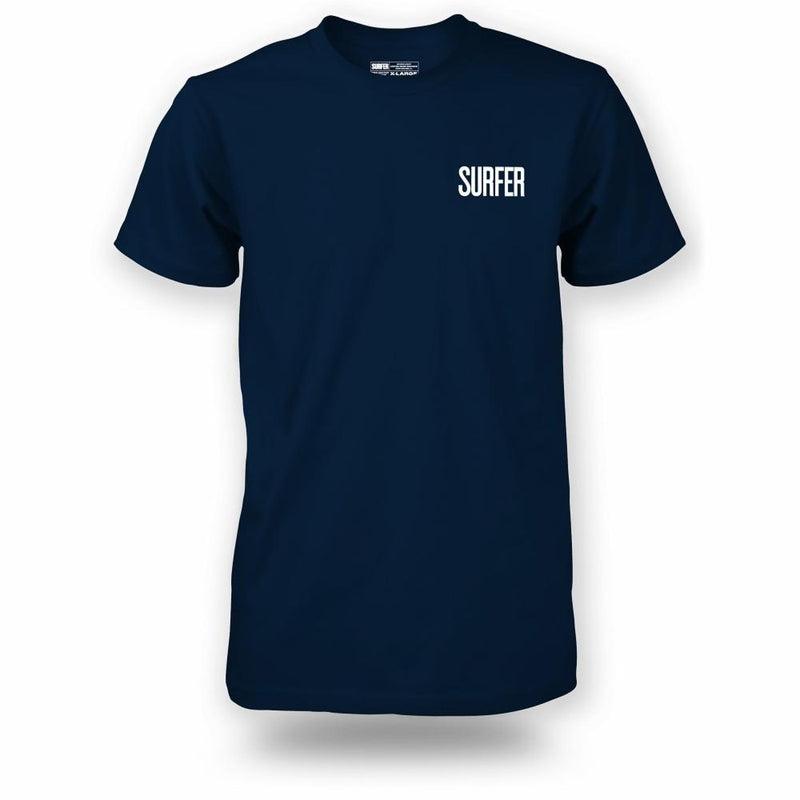 Navy t-shirt with white Surfer Magazine logo on left chest
