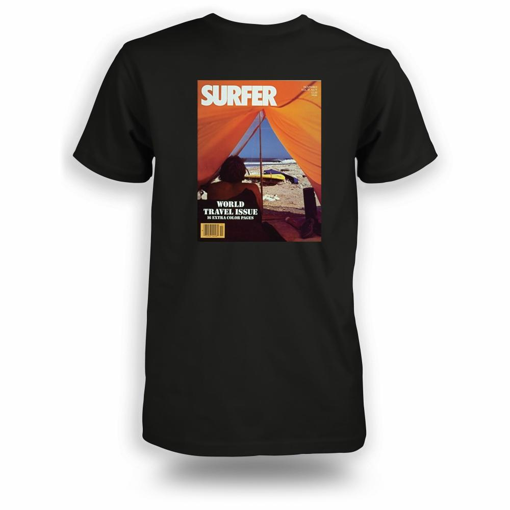 Black t-shirt with Surfer Magazine November 1980 cover image printed on back