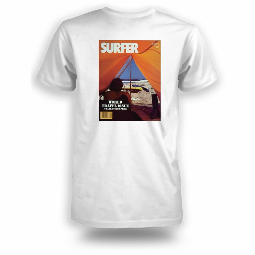 White t-shirt with Surfer Magazine November 1980 cover image printed on back
