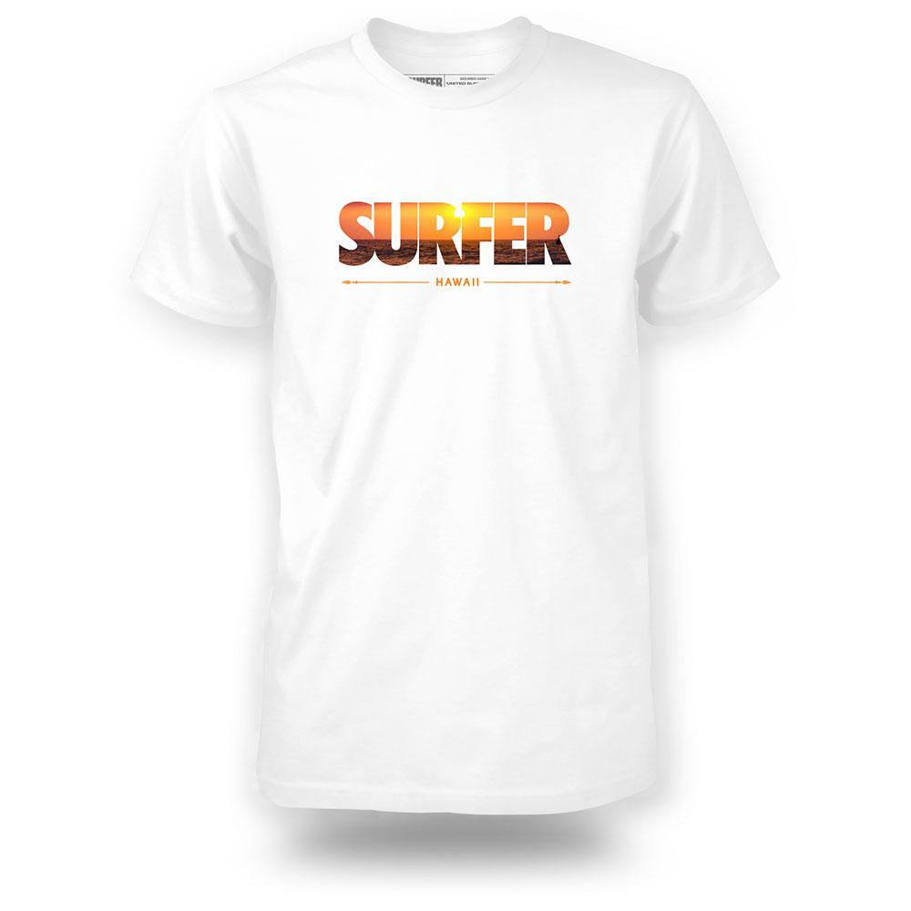 White shirt with surfer logo filled in with a sunset image and Hawaii printed underneath