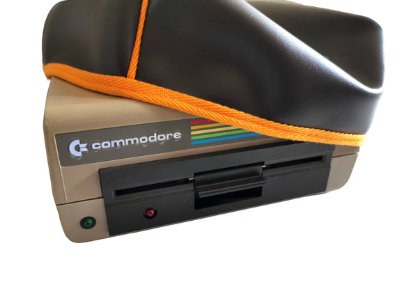 COMMODORE 1541 DISK DRIVE - FAUX LEATHER BROWN DUST COVER - STYLISH - LIMITED - Retro Ready