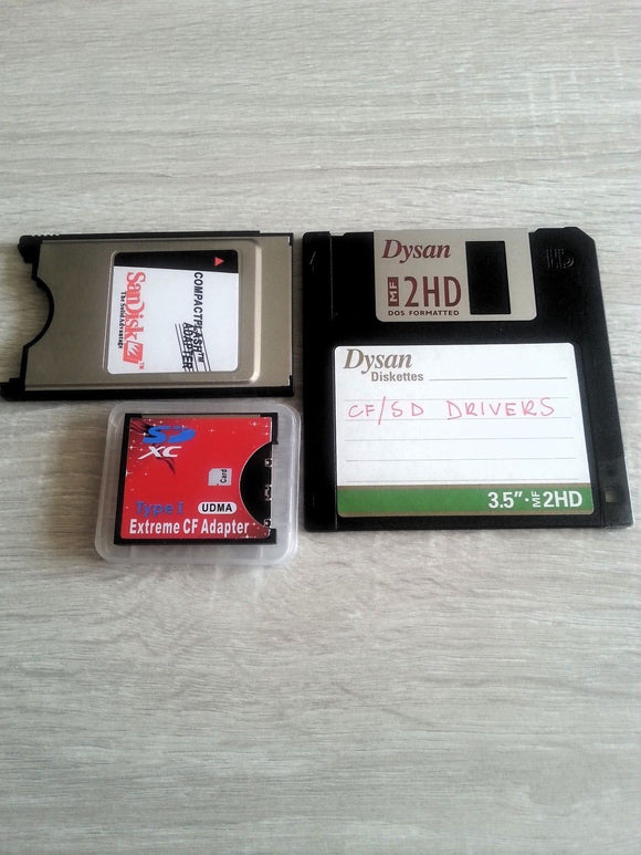 PCMCIA adapter + SD to CF Type I SDHC + Drivers - Amiga A600 A1200