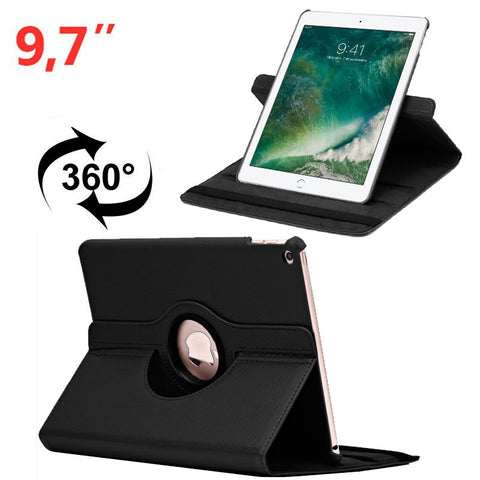 Funda  Para IPad Air / Air 2 / Pro 9.7 / IPad 2017 / IPad 2018 9.7 Pulg Giratoria Polipiel Negro