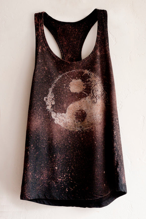 Vntage washed Yin Yang Racerback Tank Top by Felicita Vibe