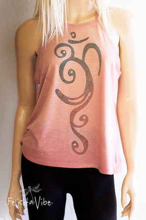 Blue and Rust OM with Gold Accents on acid washed High Neck Spaghetti Strap Yoga Tank Top front - Felicita Vibe™ - felicitavibe.com