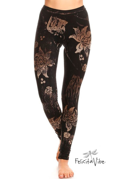 All Over Batik Styled Floral Yoga Leggings