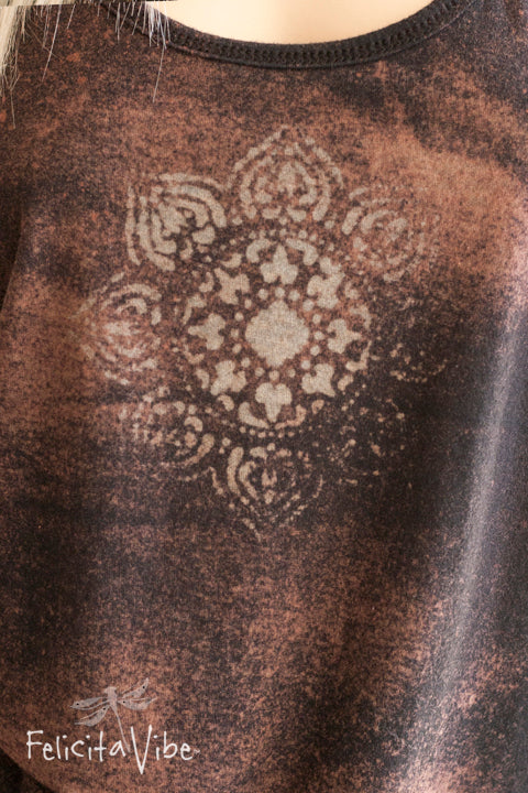 Acid Washed Batik Mandala Racerback Tank Top up close - Felicita Vibe™ - felicitavibe.com