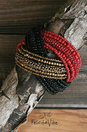 Gold, Red & Black Colored Beaded Knot Bracelet 1