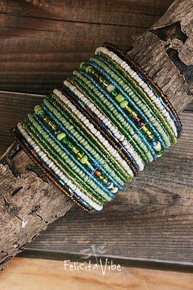 Wide multi colored Beaded and Wire Flex Cuff Bracelet