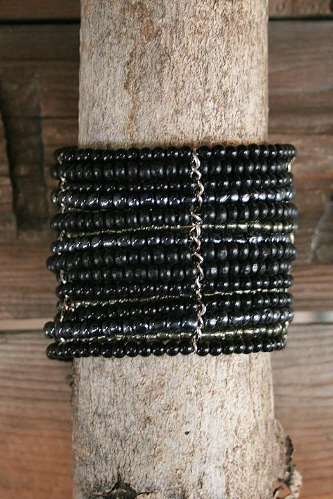 Black Wide Beaded Wire Multi Layer Cuff Bracelet