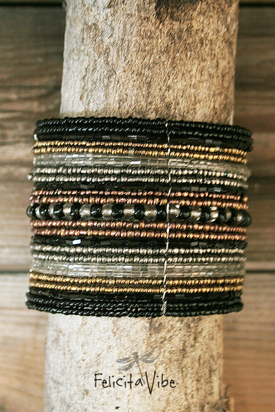 Black, White and Gold tone Wide Beaded Wire Multi Layer Cuff Bracelet