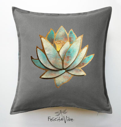 """Blue Lotus"" Grey Throw Pillow Cover"