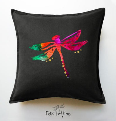 """Dragonfly"" Decorative Gold Accents on Black 20X20 Throw Pillow Cover"