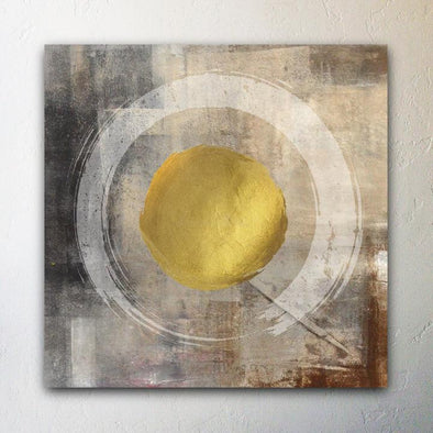 """Golden Circle"" Meditation Abstract Canvas Giclee Painting - Felicita Vibe - felicitavibe.com"