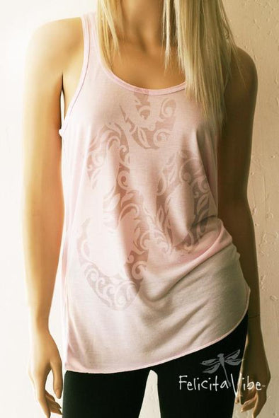 Decorative tonal Om Dusty Rose Racerback Tank Top - Felicita Vibe™ - felicitavibe.com