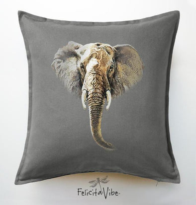 Elephant Om Grey 20X20 Throw Pillow