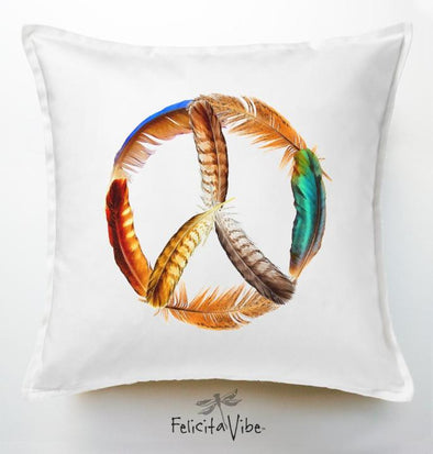 White Feathered Peace Sign 20X20 Throw Pillow Cover