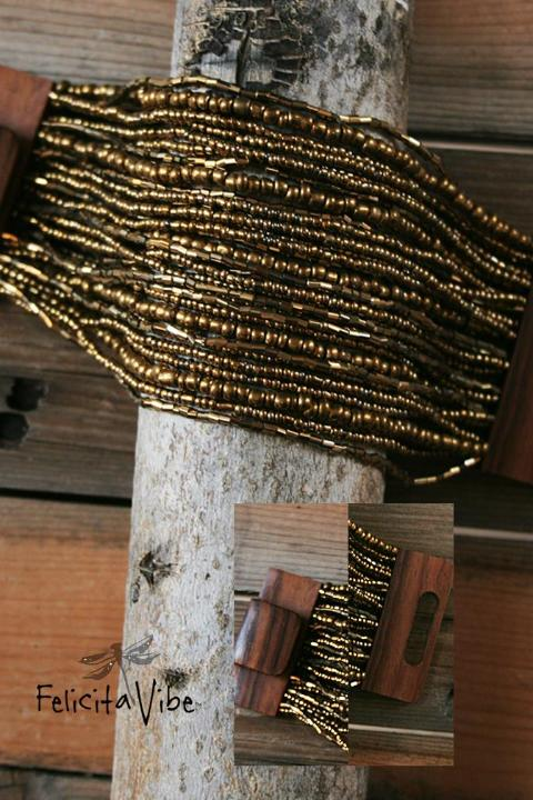 Gold Beaded Multi Strand Bracelet with Wood Closure