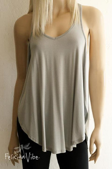 Limited Edition Grey Open Sided Racer Back Tank Top front - Felicita Vibe® - felicitavibe.com