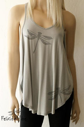 Limited Edition Dragonflies Side Slit Fashion Racerback Tank Top- Felicita Vibe™ - felicitavibe.com