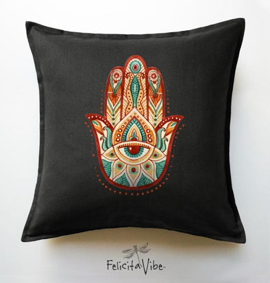 """Hamsa Hand"" Black 20X20 Throw Pillow Cover"