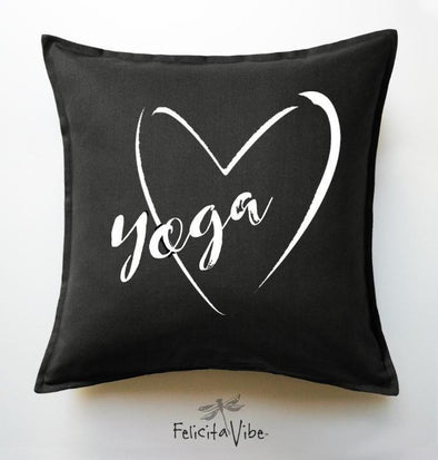 """Love Yoga"" Black Throw Pillow Cover"
