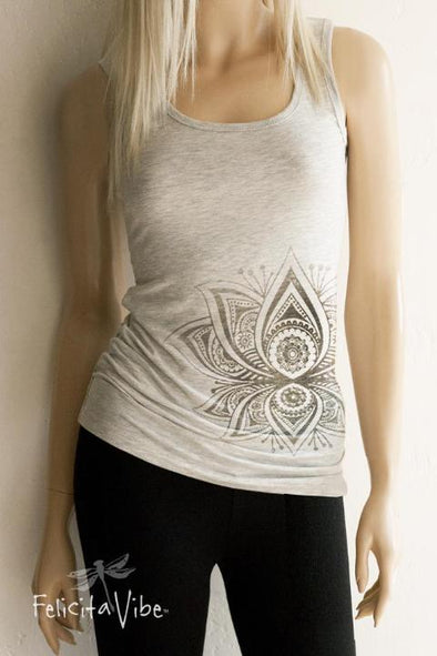 Tribal Lotus Form Fitted Scoop Neck Standard Tank Top  - Felicita Vibe® - felicitavibe.com