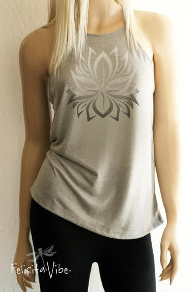 White Lotus on Grey High Neck spaghetti strap Tank Top front- Felicita Vibe™ - felicitavibe.com