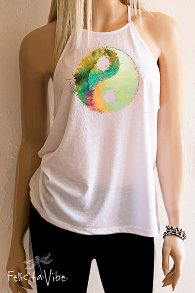 Watercolor Yin Yang High Neck Spaghetti Strap Tank Top-Felicita Vibe®