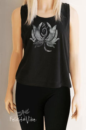 Lotus and Om on black Crop Tank Top - Felicita Vibe® - felicitavibe.com