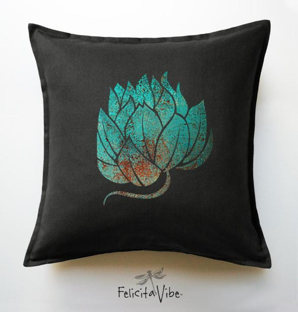 Blue Lotus Black Throw Pillow Cover