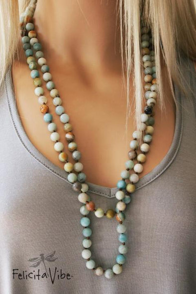 Multi Colored Stone Beaded Long Necklace