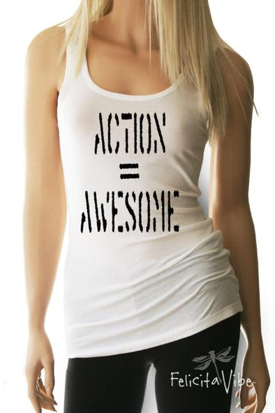 Action equals Awesome Women's Fitted White Workout Tank Top - Felicita Vibe® - felicitavibe.com