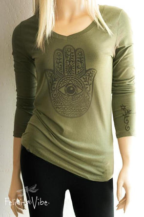 Green V Neck Long Sleeve Peimitive Hamsa Hand Top - Felicita Vibe® - felicitavibe.com