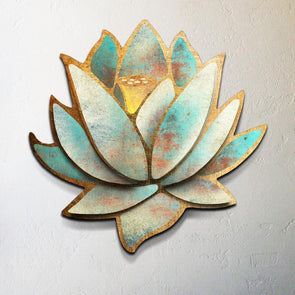 """Blue Lotus"" 36 inch Metal Dimensional Wall Sculpture"