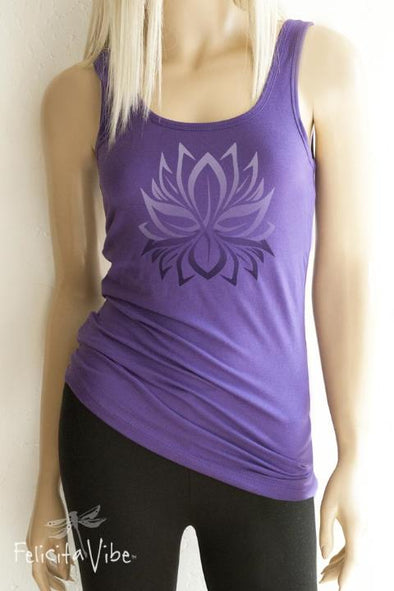 Lotus Symbol Yoga Fitted Workout Scoop Neck Tank Top