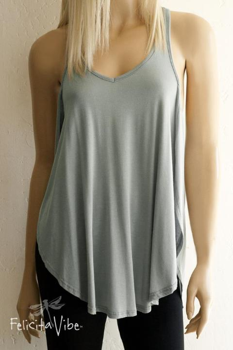 Limited Edition Grey Green  Open Sided Racer Back Fashion Tank Top - Felicita Vibe® - felicitavibe.com