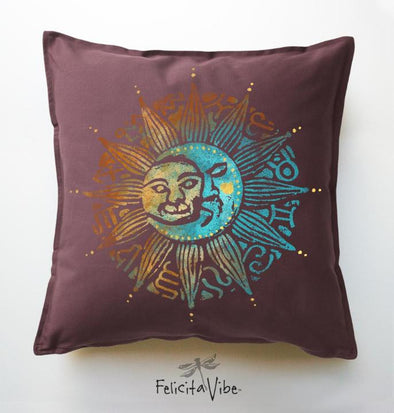 Sun & the Moon Decorative 20X20 Throw Pillow Cover.