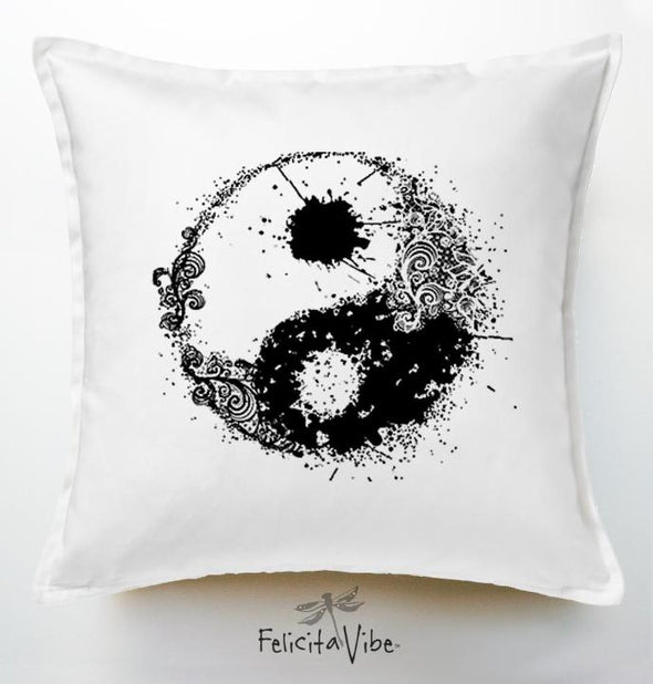 Yin Yang Black & White decorative White 20x20 Throw Pillow